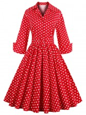 Women's Christmas Polka Dot Deep-V Neck Half Sleeve Bow Vintage Casual Swing Dress With Blet