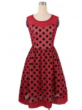 1950s Vintage Rockabilly Polka Dot Print Mesh Cocktail Swing Dress Red