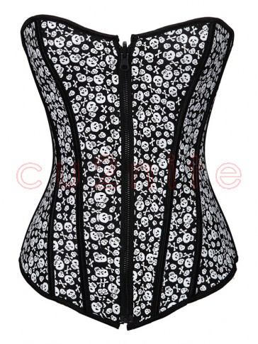 Reversible Skull Zipper Corset
