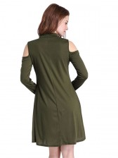 Women's Cold Shoulder Long Sleeve Choker T-shirt Dress Green