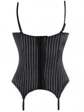 Fashion Sexy Black Straps Lace Stripe Bustier