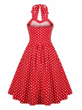 New Fashion Red Halter Polka Dot Casual Swing Dress