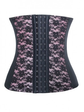 9 Steels Fashion Pink Lace Waist Cincher Plus Size Bustier Corset