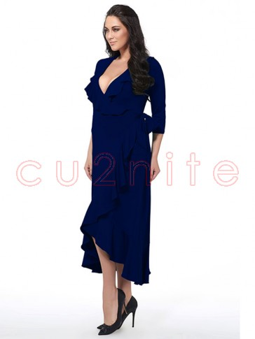 Sexy Solid Color Deep V Neck 3/4 length Sleeve Falbala Plus Size Maxi Dress Blue