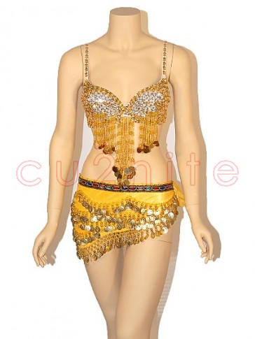 Deluxe Sequined Belly Dancer Bra and Hip Scarf Set - Yellow