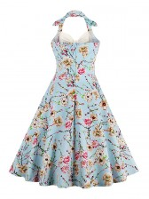 Vintage Sweetheart Floral Print Halter Cocktail Party Dress Cream