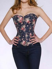 Dark Blue Denim Flower Print Corset