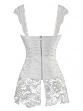 Steampunk Sexy White Jacquard Lace-up Corset with Lace Skirt