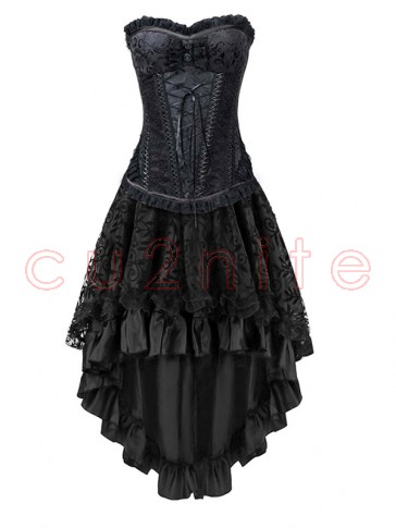 Steel Boned Black Jacquard Lace Trim Overbust Corset&Skirt Set