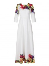 Summer Round Neck Floral Printed Long Maxi Dress