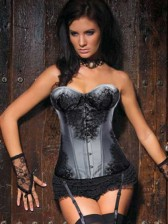 Grey Burlesque Style Satin Corset with Detachable Gart