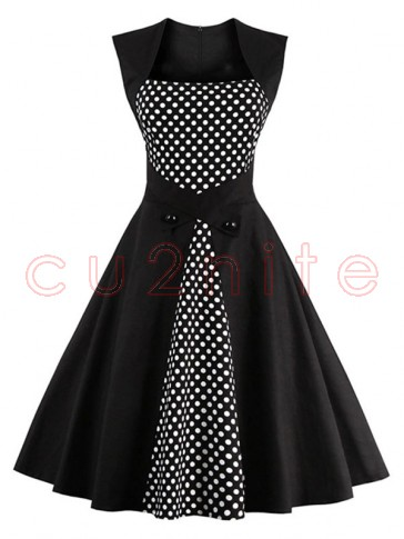 Charming Polka Dot Patchwork Sleeveless Casual Cocktail Party Dress