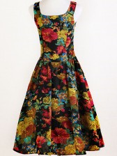 1960's Vintage Rockabilly Floral Print Swing Dress