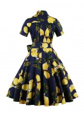 Vintage Lemon Print Short Sleeves Rockabilly Ball Cocktail Party Casual Swing Dress