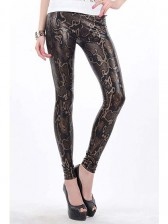 Brown High Waist Snake Texture Metallic Leggings