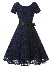 Vintage Floral Lace Short Sleeve Evening Party Swing Dress Dark Blue