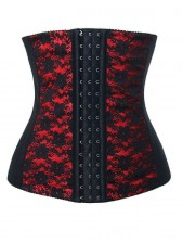 9 Steels Fashion Red and Black Lace Waist Cincher Plus Size Bustier Corset
