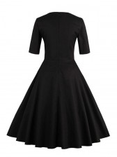 1950's Vintage Black Short Sleeves Casual Cocktail Party Dress