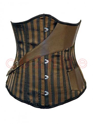 Steel Boned Steam Punk Underbust Corset with Crossover Belt