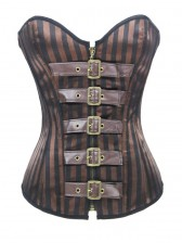 Brown Satin Steampunk Stripe Zipper Steel Bone Outerwear Corsets