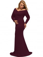 Sexy V Neck Long Sleeve Evening Party Fishtail Plus Size Maxi Dress Wine Red