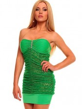 Green Bandeau Club Party Mini Dress with Animalistic Touch