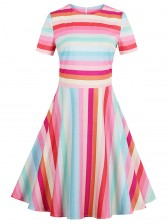 Fashion Women'S Round Neck Short Sleeves Multicolor Casual Swing Dress