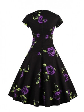 Vintage Black Short Sleeves Floral Print Rockabilly Ball Cocktail Party Casual Swing Dress