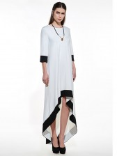 Women's Simple White High Low Maxi Dress