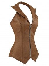 Steel Bone Collar Vest Leather Corset