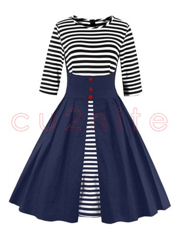 Vintage Stripes Patchwork Half Sleeves Casual Cocktail Party Dress Blue