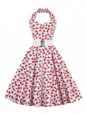 1950's Vintage Halter Cherry Print Casual Swing Dress