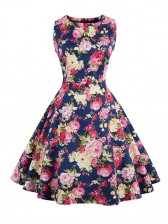 Elegant 1950's Vintage Floral Print Sleeveless Swing Dress