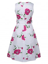 1950's Vintage Floral Print Sleeveless Dress White Red