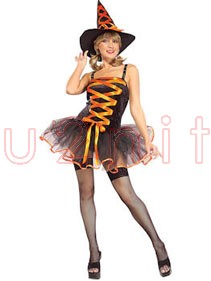 Adult Orange Ballerina Witch Costume