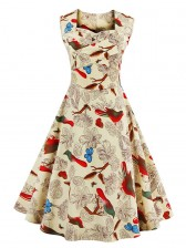 1950's Elegant Floral Print Flared Cocktail Swing Dress