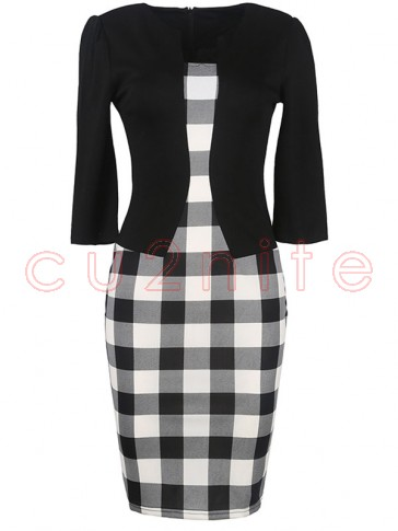 Vintage 3/4 Sleeve One-Piece Patchwork Office Bodycon Dress with Belt