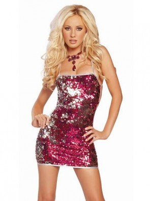 Red Silver Low Back Sequin Mini Dress