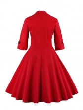 Elegant Vintage Polka Dot Bowknot Patchwork Dress