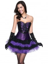 Elegant Satin Corset and Mesh Lace Dancing Pettiskirt Set