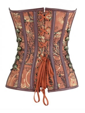 Steampunk Brown Jacquard Steel Boned Busk Closure Outerwear Corset