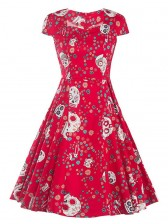 Sexy Vintage Women Cap Sleeves Floral Skull Print Swing Midi Dress Party