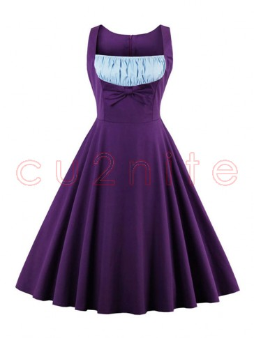 1960's Vintage Purple Cocktail Swing Dress