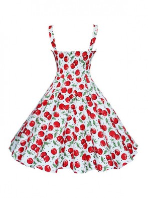 Charming 1950's Vintage Cheery Print Casual Swing Dress