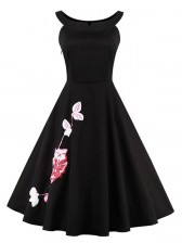 Elegant Vintage Black Embroidery Floral Print Cocktail Party Casual Dress