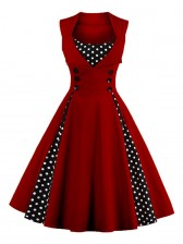 Vintage Rockabilly Polka Dot Print Sleeveless Casual Cocktail Party Dress