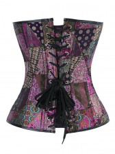 Sexy Steampunk Jacquard Steel Boned Overbust Corset Top and Vintage Satin Skirt Set