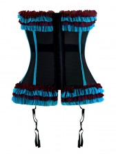 Sexy Black and Blue Ruffle Trim Waist Cincher Bustier Corset