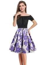 Sexy Black Short Sleeve Off Shoulder Crop Top and High Waisted Skirt Set