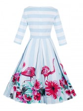 Women's 1950's Vintage Flamingo Print 3/4 Length Sleeve Striped Rockbilly Swing Dress